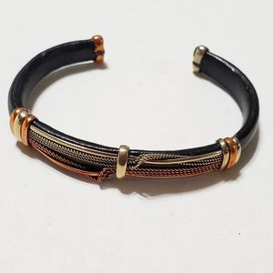 Other - Silver and Cooper Black Leather Cuff Bracelet